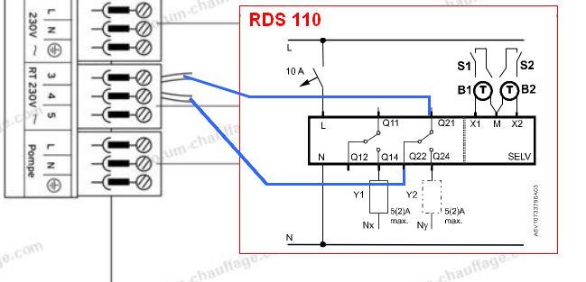 branchement thermostat rds110 chaudière Vaillant