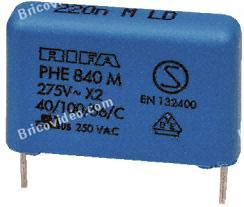 Condensateur 275 Vac, 0.22 uF