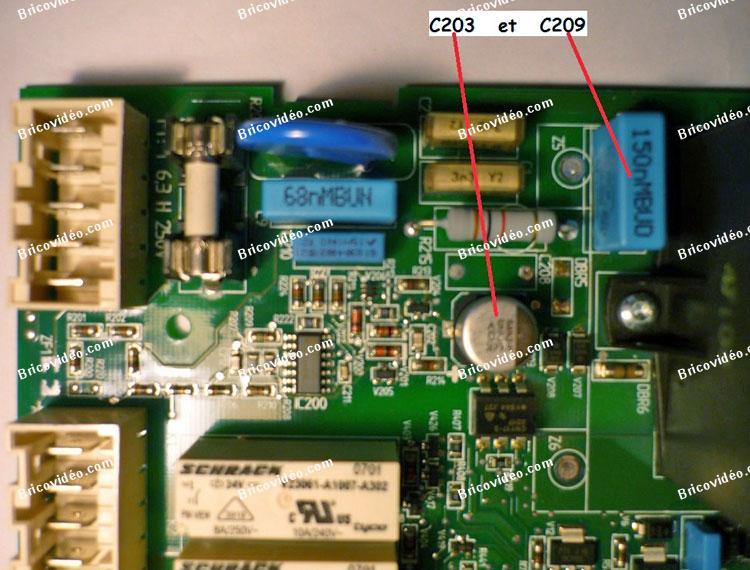 Dépannage carte chaudière Brojte WGB 28C équipée d'une carte LMU74