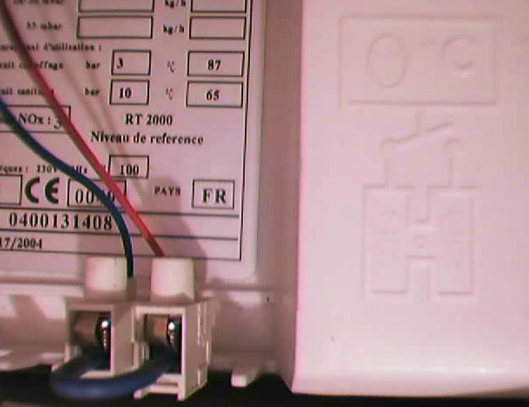 branchement chaudière gaz saunier duval themaplus et thermostat aube th148 ele p