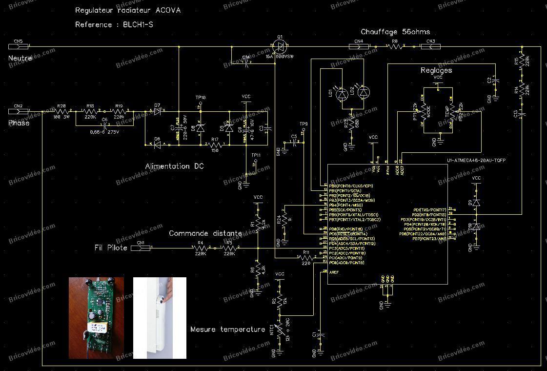 schéma carte régulateur radiateur BHCL Accova