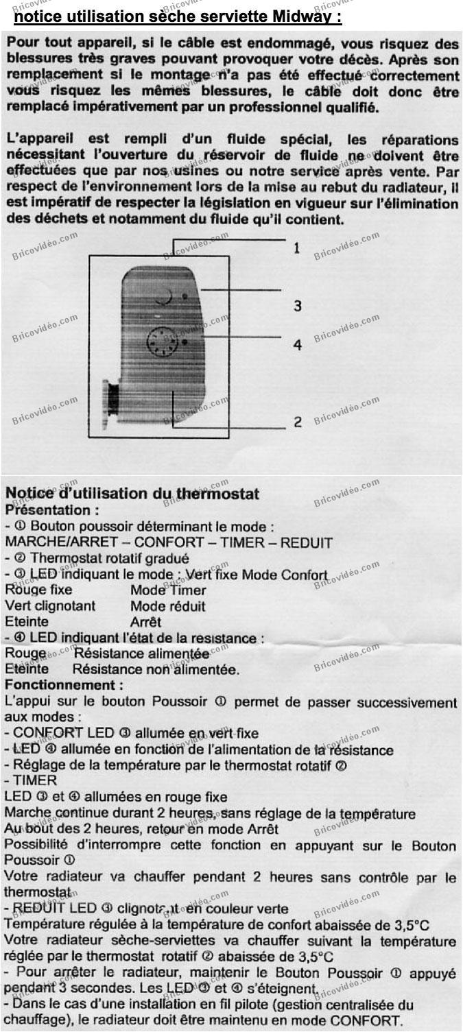 Notice Sèche Serviettes Midway Questions Réponses Chauffage