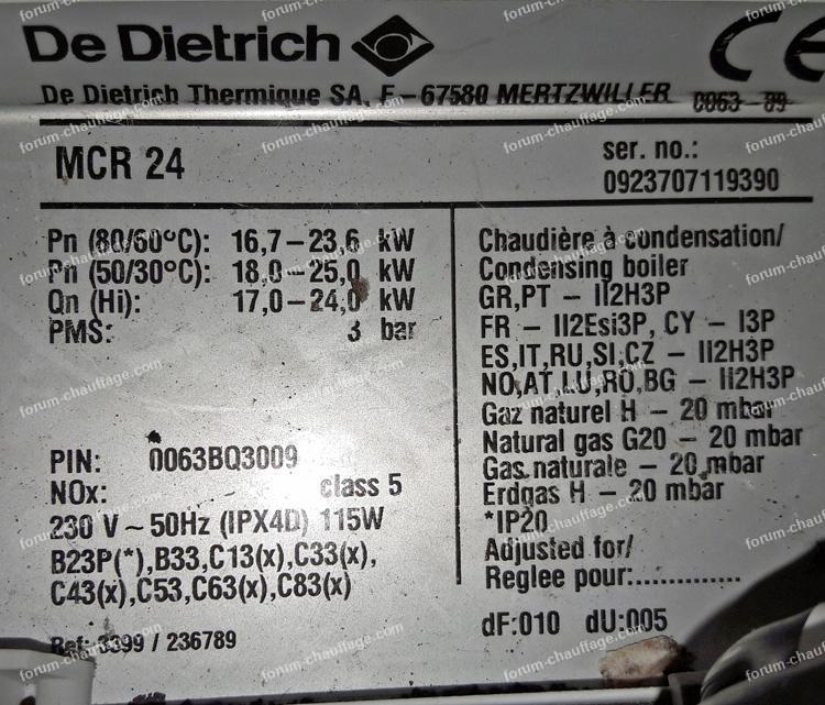 plaque signalétique chaudière gaz De Dietrich MCR 24