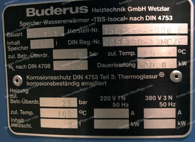problème chaudière Buderus type G115 U