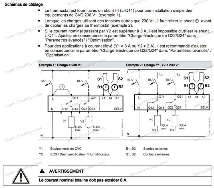 schéma branchement thermostat chaudière Vaillant écoTOP